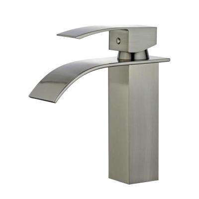 Santiago Single Hole Single-Handle Bathroom Faucet with Overflow Drain in Brushed Nickel