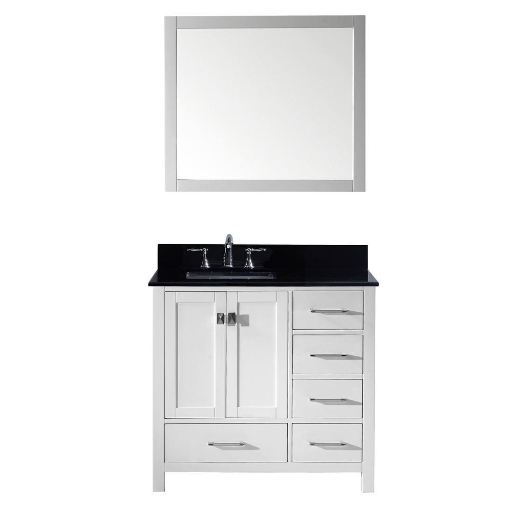 Caroline Avenue 36 in W. Bath Vanity in White with Granite Vanity Top in Black with Square Basin and Mirror