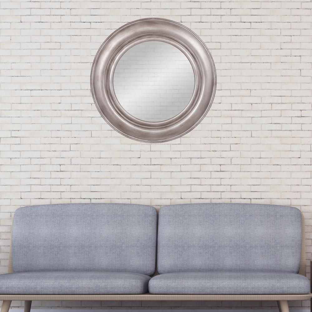 Port Hole Round Pewter Silver Decorative Mirror