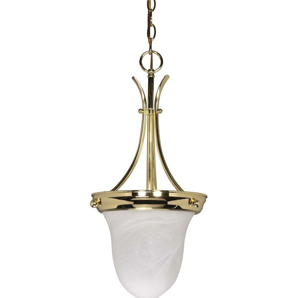 Glomar 1 light polished brass bell pendant hd 396 the home depot glomar 1 light polished brass bell pendant aloadofball Gallery