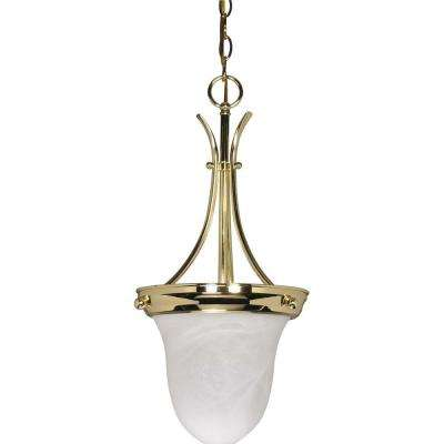1-Light Polished Brass Bell Pendant