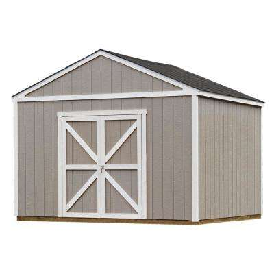 Installed Columbia 12 ft. x 12 ft. Wood Storage Shed with Black Onyx Shingles