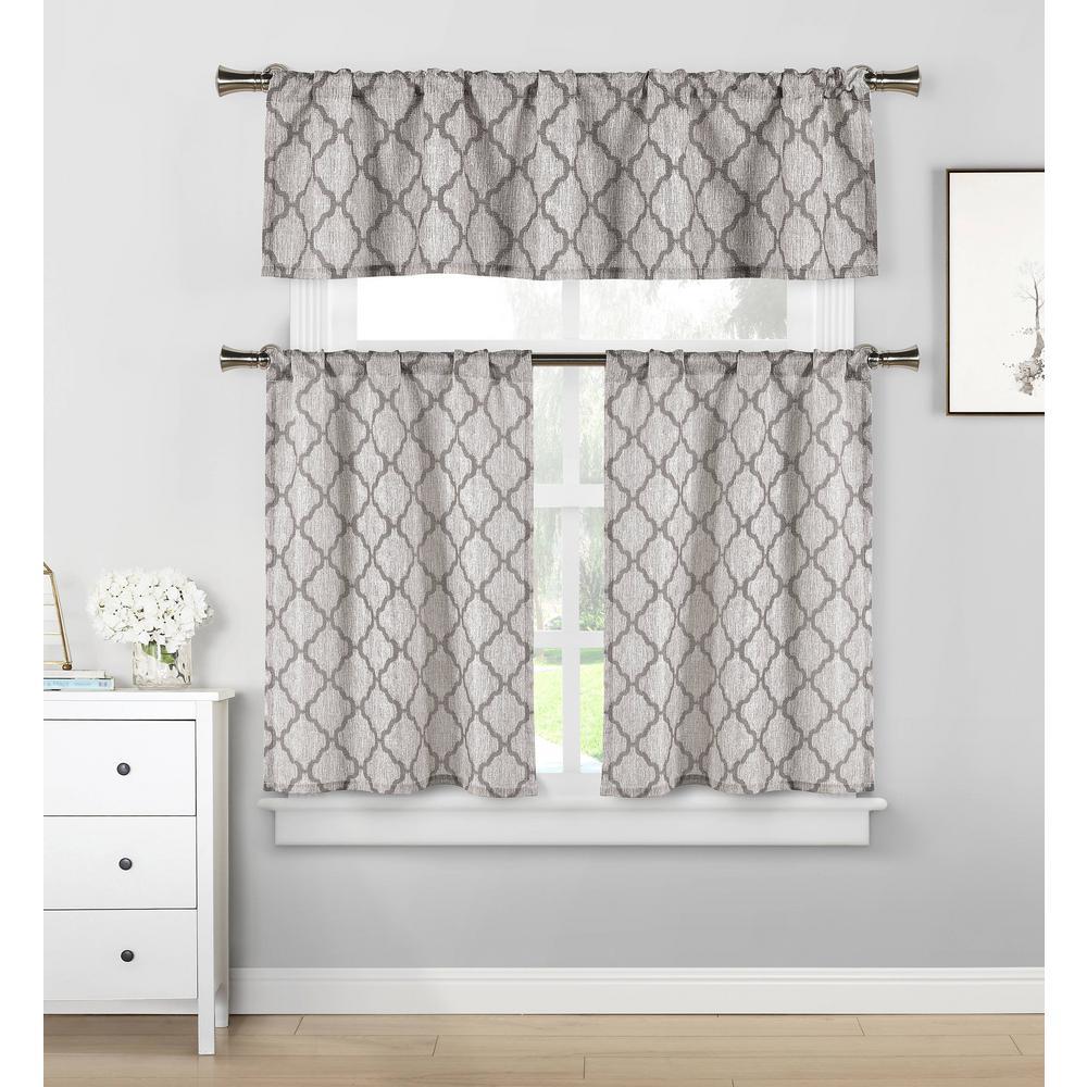 home maison luke grey kitchen curtain set - 58 in. w x 15 in. l (3-piece)-lukgy=12 /13167 - the