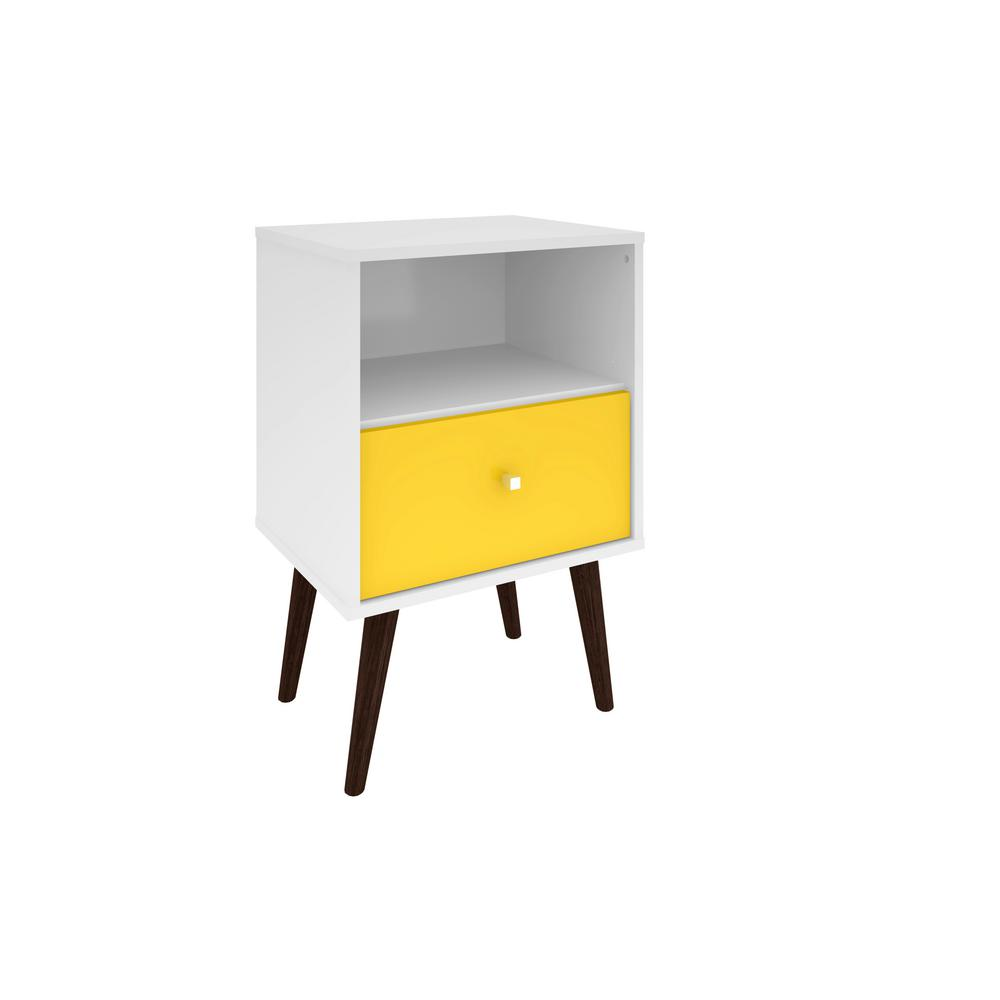 Elegant Manhattan Comfort Liberty Mid Century White And Yellow Modern Nightstand  1.0 With 1 Cubby Space