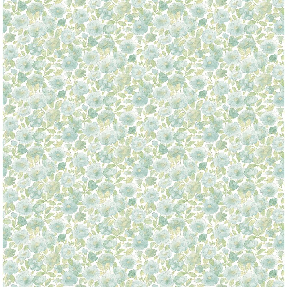 A-Street Elsie Teal Floral Wallpaper 2657-22216