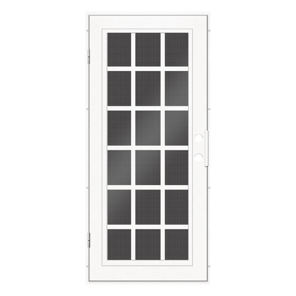 Unique Home Designs 32 in. x 80 in. Classic French White Left-Hand Surface Mount Aluminum Security Door with Black Perforated Screen