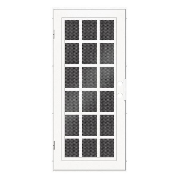 32 in. x 80 in. Classic French White Left-Hand Surface Mount Aluminum Security Door with Black Perforated Screen