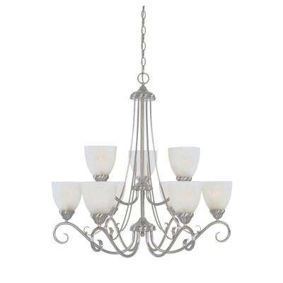 Bella Vista Collection 9-Light Satin Platinum Hanging Chandelier