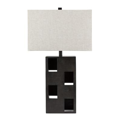 Cresswell 21 in. Natural Faux Wood Contemporary Rectangular Patterned Table Lamp and LED Bulb