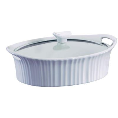 French White 2.5-Qt Oval Ceramic Casserole Dish with Glass Cover