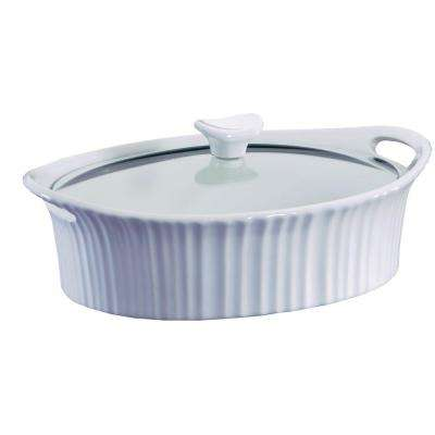 2.5 Qt. Oval Ceramic Casserole Dish with Glass Cover