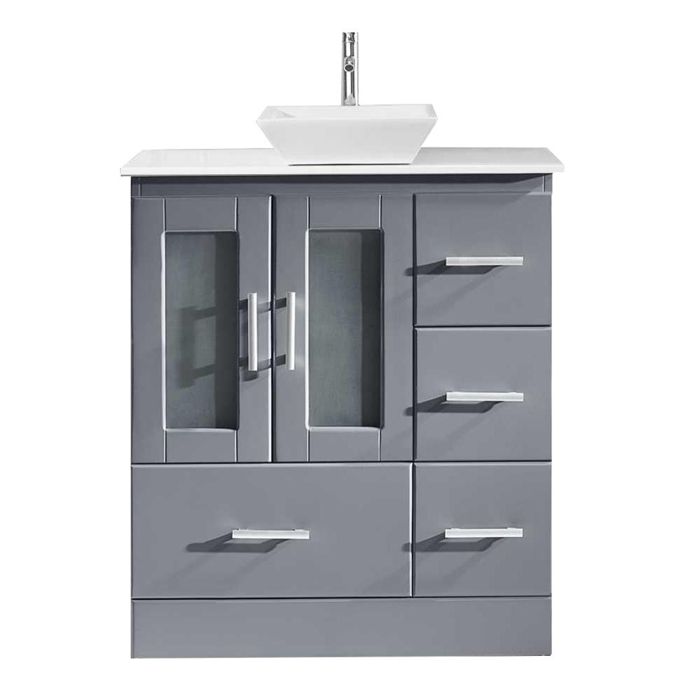 Virtu USA Zola 31 in. W Bath Vanity in Gray with Stone Vanity Top in White Stone with Square Basin and Faucet