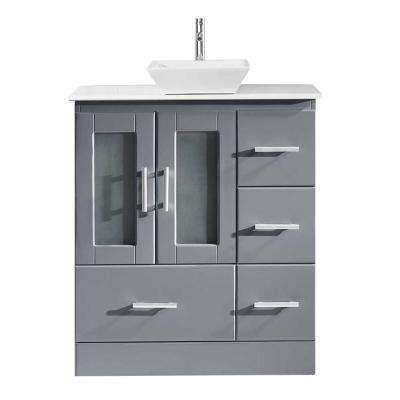 Zola 31 in. W Bath Vanity in Gray with Stone Vanity Top in White Stone with Square Basin and Faucet
