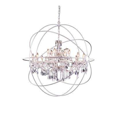 Geneva 18-Light Polished Nickel Chandelier with Clear Crystal