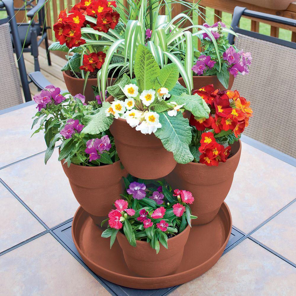13 in. 3-Tier Resin Flower and Herb Vertical Gardening Planter in Terra Cotta