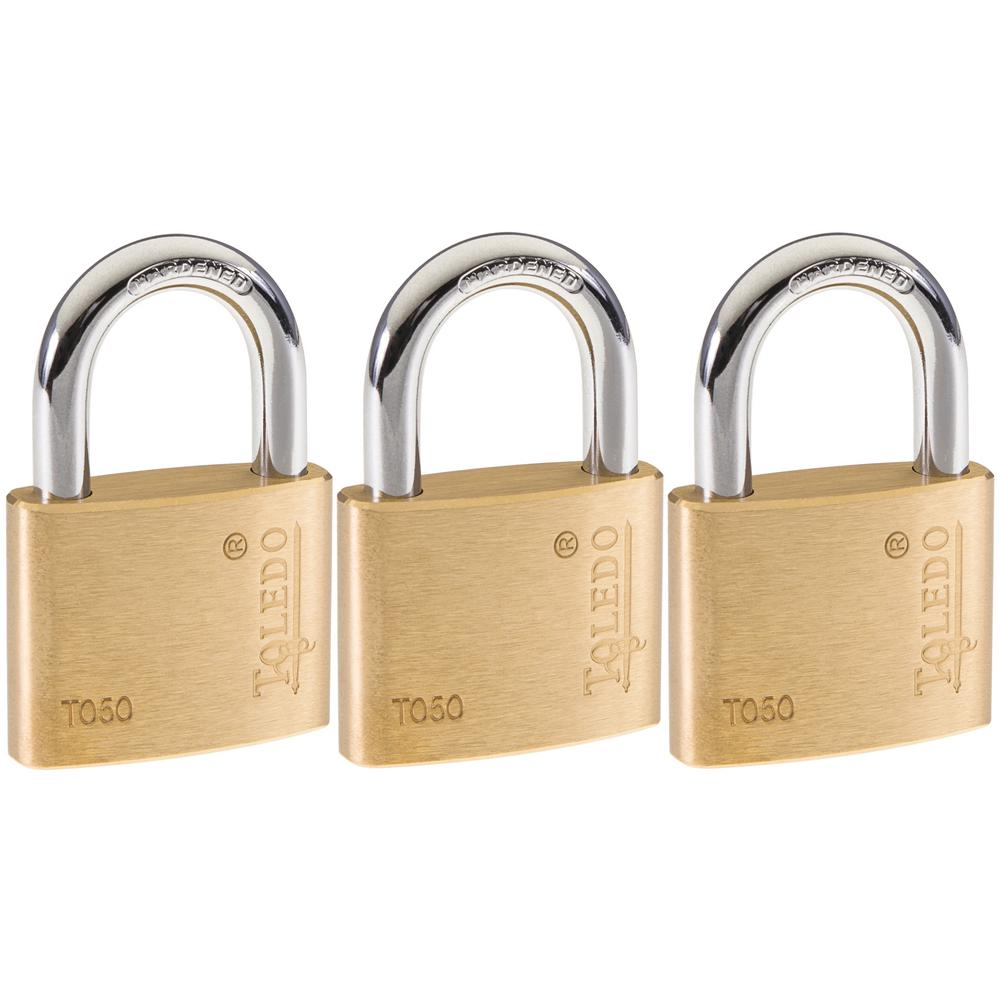 Toledo Fine Locks Brass Keyed Padlock (3-Pack)