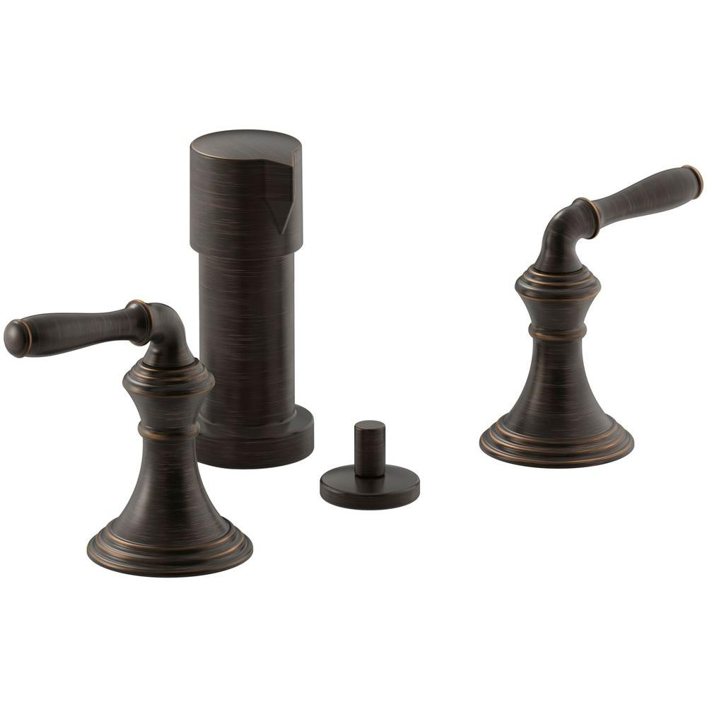 KOHLER Devonshire 2-Handle Bidet Faucet in Oil-Rubbed Bronze with Vertical Spray
