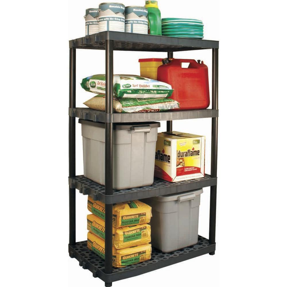plano 24 in x 36 in 4 shelf heavy duty black and grey shelving rh homedepot com