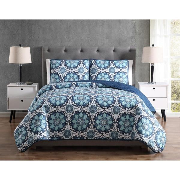 Morgan Home MHF Home Sampson Blue Medallion Twin Quilt Set