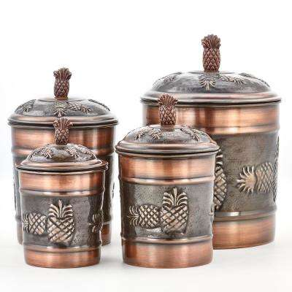 """4-Piece 4 Qt., 2 Qt., 1 Qt., 1 Qt. Antique Copper """"Pineapple"""" Canister Set"""
