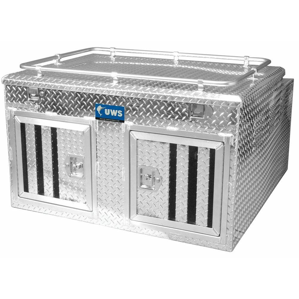 UWS 48 in. x 48 in. Aluminum Double Door with Full Enclosure and Storage Dog Box