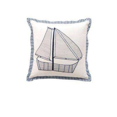 Sailboat 18 in. Square Decorative Pillow
