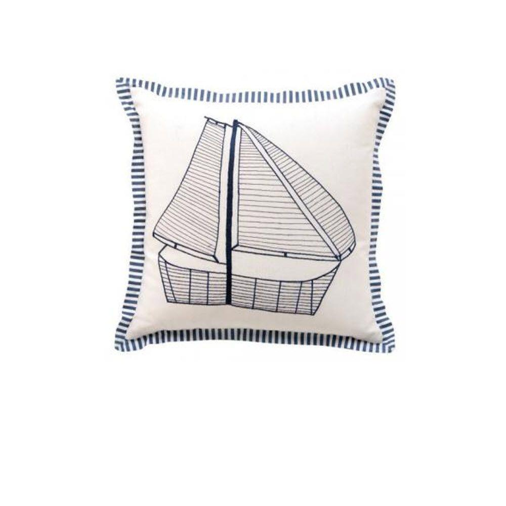 Square Decorative Pillows : Sailboat 18 in. Square Decorative Pillow-1861500410 - The Home Depot