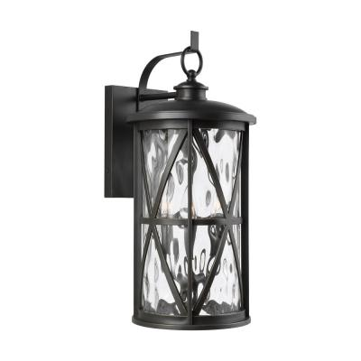 Millbrooke Large 10 in. W 3-Light Antique Bronze Outdoor Wall Mount Lantern with Water Glass