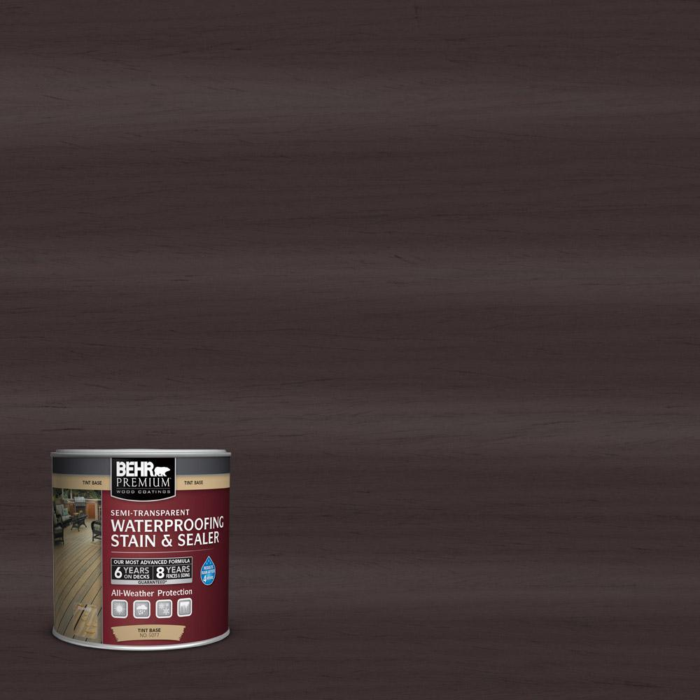 BEHR Premium 8 oz. #ST104 Cordovan Brown Semi-Transparent Waterproofing Stain and Sealer Sample