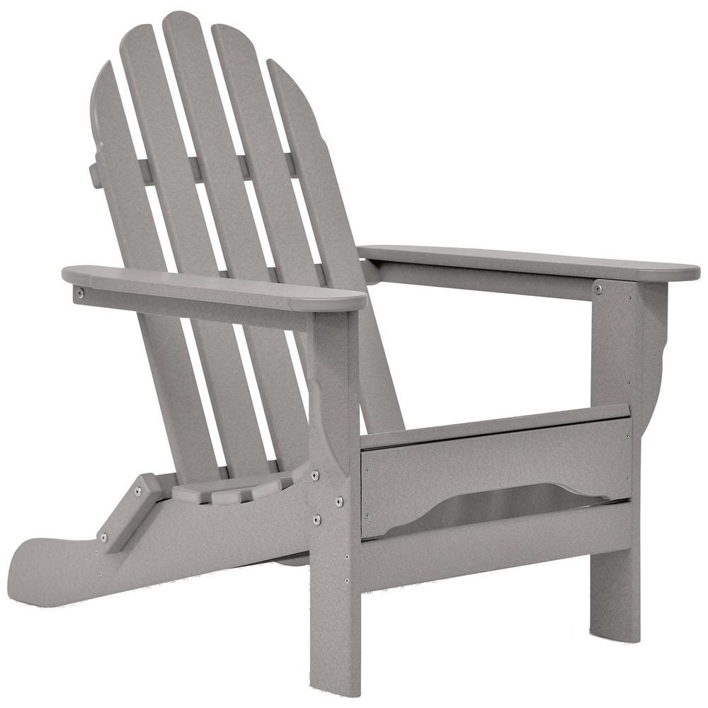 Icon Light Gray Non-Folding Plastic Adirondack Chair