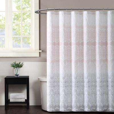 Ombre Lace Pink Shower Curtain