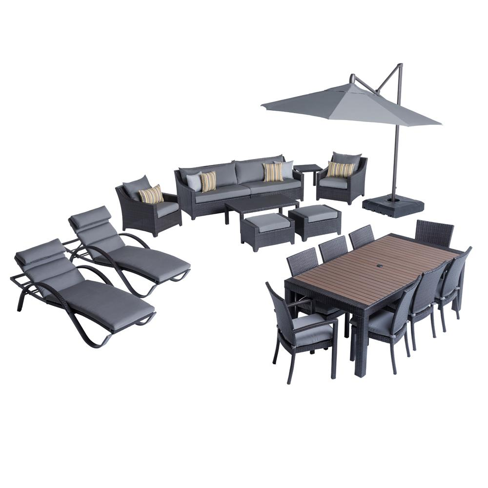 Deco Estate Wicker 20-Piece Patio Conversation Set with Sunbrella Charcoal Grey