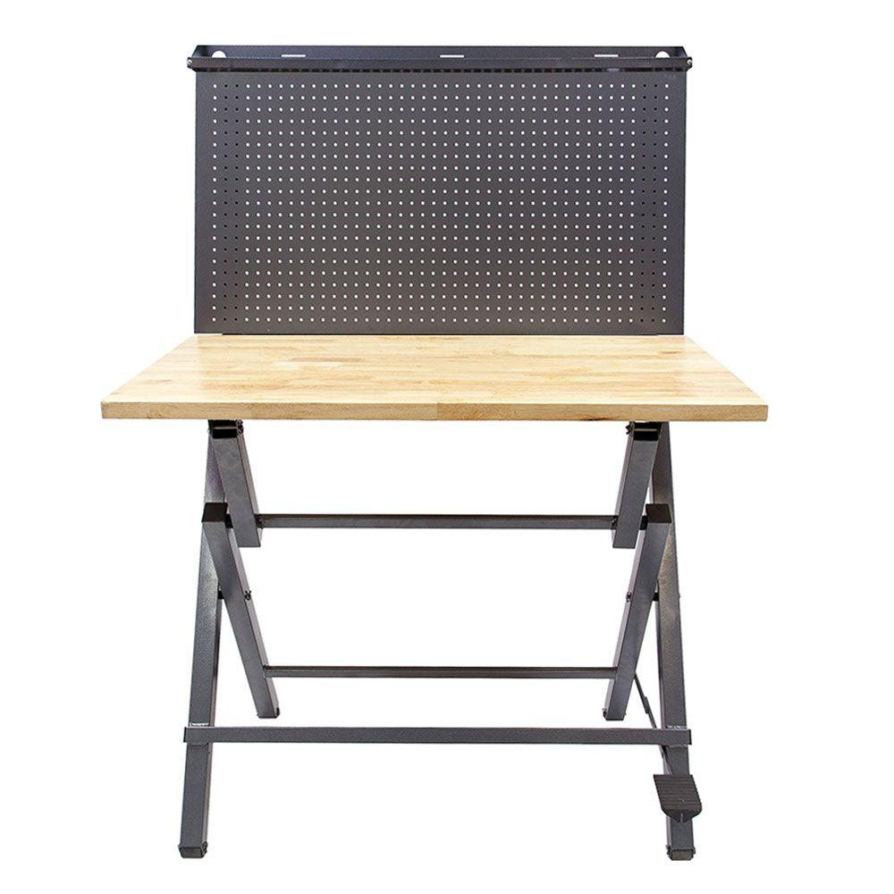 Instant 44 in. Work Bench with metal pegboard