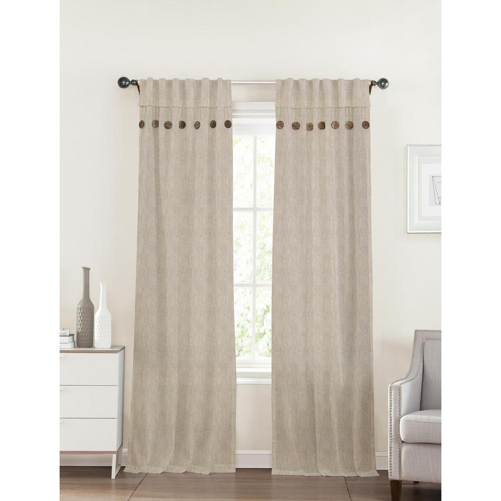 40 In X 96 Eleanor Linen Tan Polyester Curtain