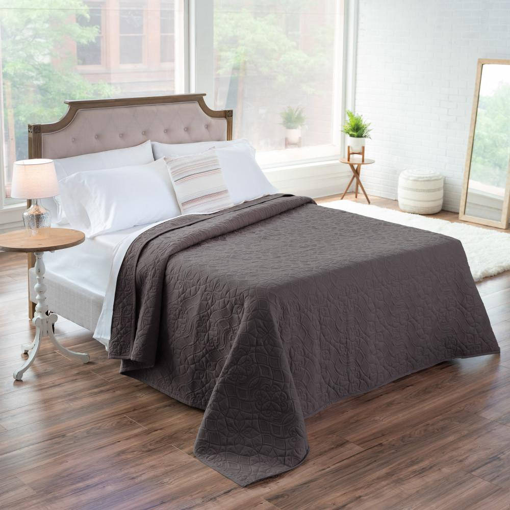 WELHOME The Aidan Cotton Charcoal King Quilt, Grey was $200.99 now $110.54 (45.0% off)