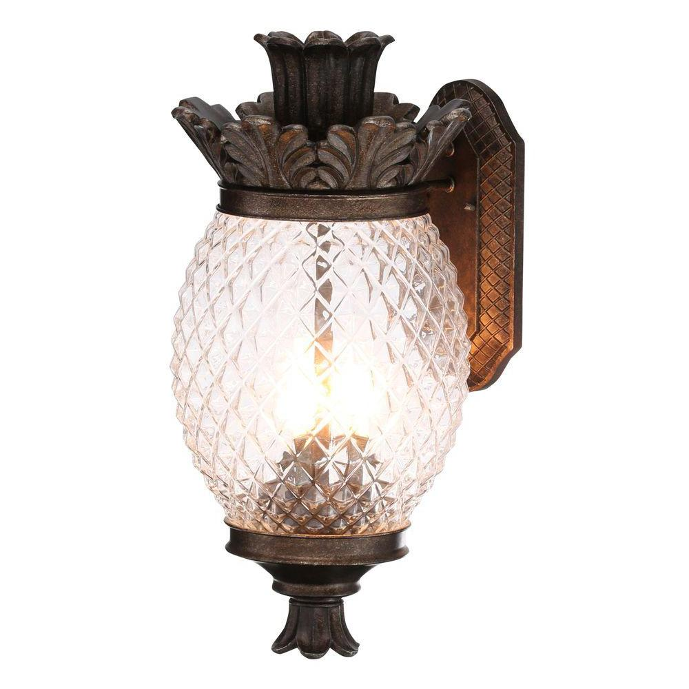 Monteaux lighting 21 in bronze outdoor pineapple coach light wall lantern sconce