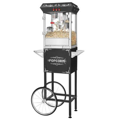 Foundation 8 oz. Black Hot Oil Popcorn Machine with Cart