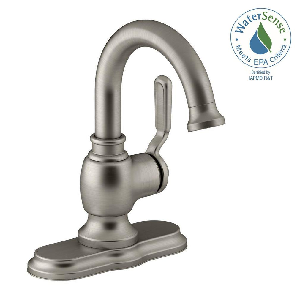 Kohler Worth Single Hole 1 Handle Bathroom Faucet In Vibrant Brushed Nickel