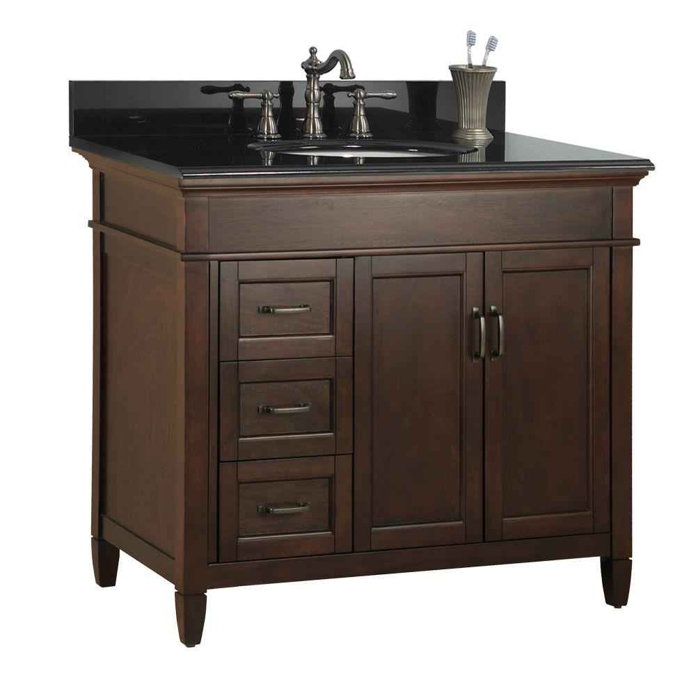 Foremost Ashburn 37 in. W x 22 in. D Bath Vanity in Mahogany with Left Drawers with Granite Vanity Top in Black