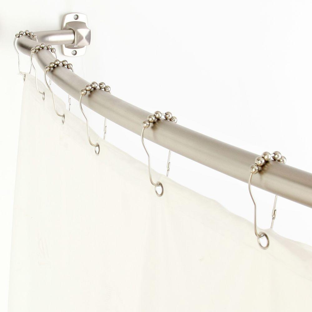 Elegant Home Fashions Curved Adjustable Shower Rod Value Pack in 3 in1 in Satin Nickel-DISCONTINUED
