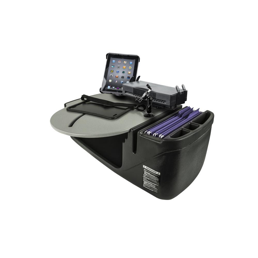 AutoExec Roadmaster Car Desk with Phone Mount, Tablet Mount and Printer Stand Gray The RoadMaster Car Desk is the perfect solution to those who need a stable work station to place their Laptop on to work. The 21 in. W top has an adjustable laptop plate so the laptop can be moved to a comfortable, ergonomic typing position. The laptop plate extends past the edge of the desk by another 3 in. making it 24 in. of overall reach from the far edge of the desk.