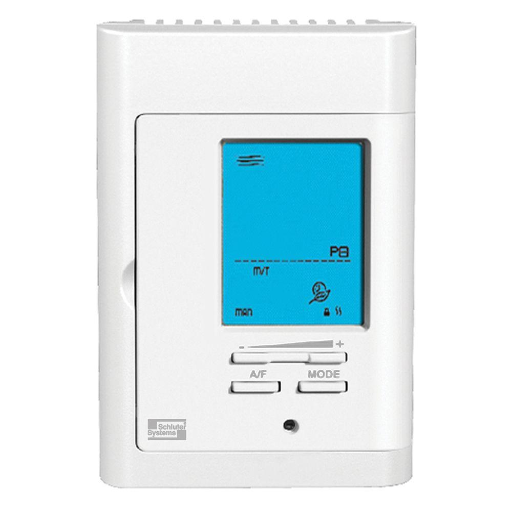 Under floor heating flooring the home depot ditra heat bright white programmable thermostat dailygadgetfo Image collections