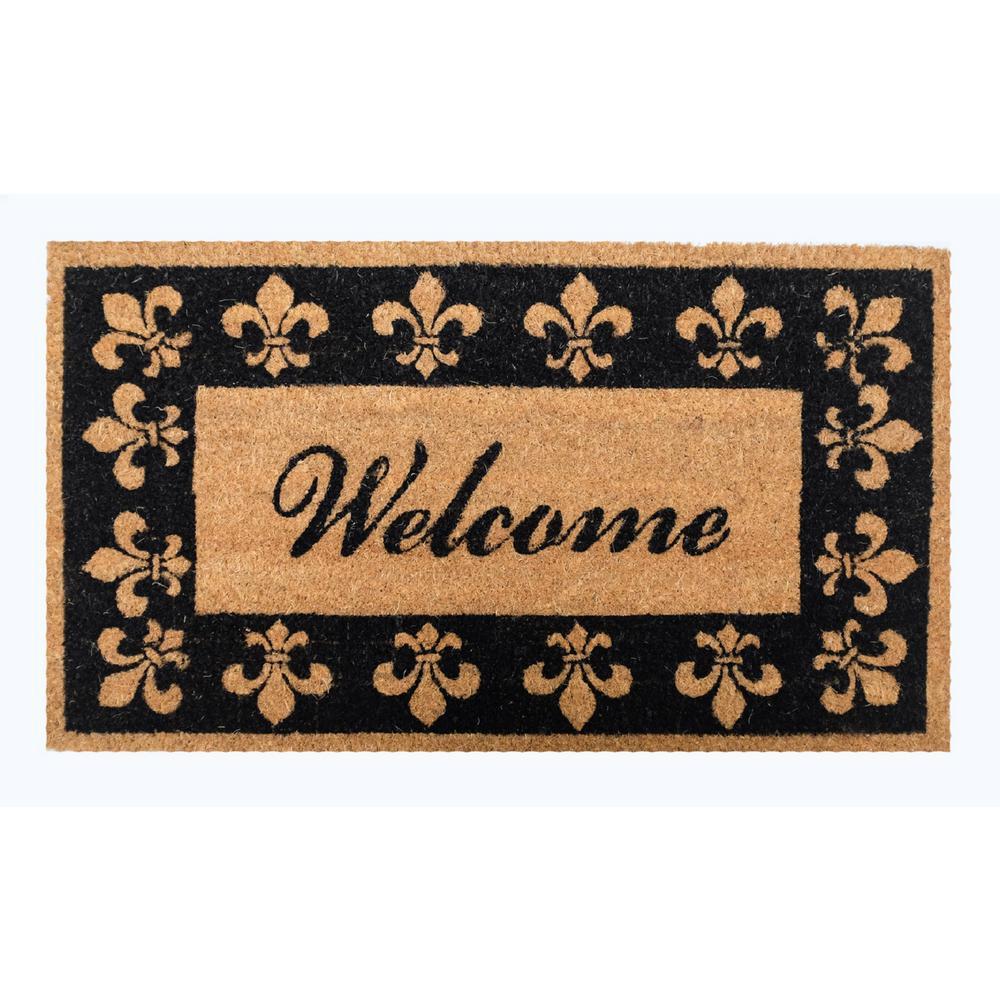 Click here to buy  16 inch x 28 inch Welcome Fleur De Lis Vinyl Back Coco Door Mat.