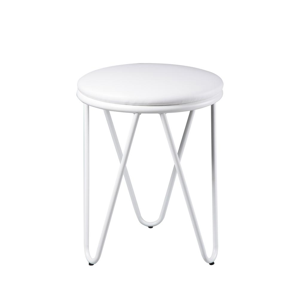 Genial Kings Brand Furniture 18 In. Metal With Vinyl Upholstery White Seat Stool  (Set Of