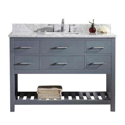 Caroline Estate 49 in. W Bath Vanity in Gray with Marble Vanity Top in White with Square Basin and Faucet