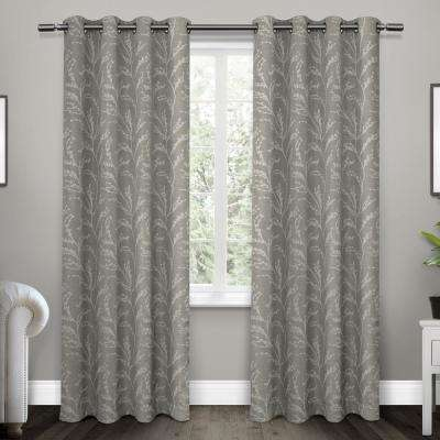 Kilberry 52 in. W x 96 in. L Woven Blackout Grommet Top Curtain Panel in Ash Grey (2 Panels)