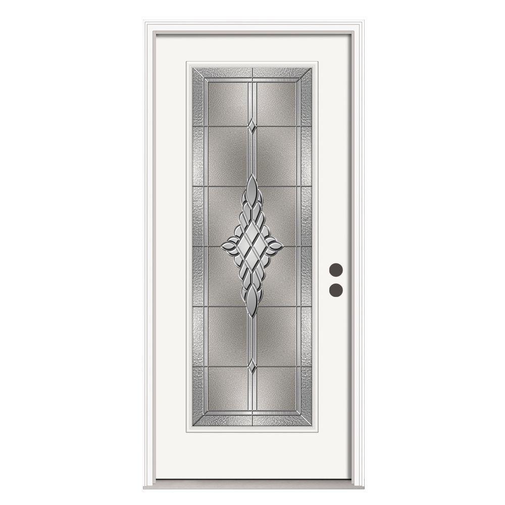 36 in. x 80 in. Full Lite Hadley Primed Steel Prehung Left-Hand Inswing Front Door w/Brickmould