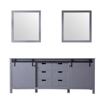 Marsyas 80 in. Double Bath Vanity Cabinet only with Mirror in Ash Grey