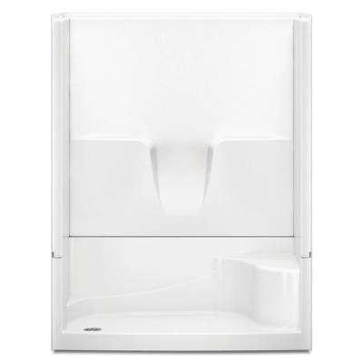 Remodeline 60 in. x 34 in. x 76 in. 4-Piece Shower Stall with Left Drain and Shower Bench in White