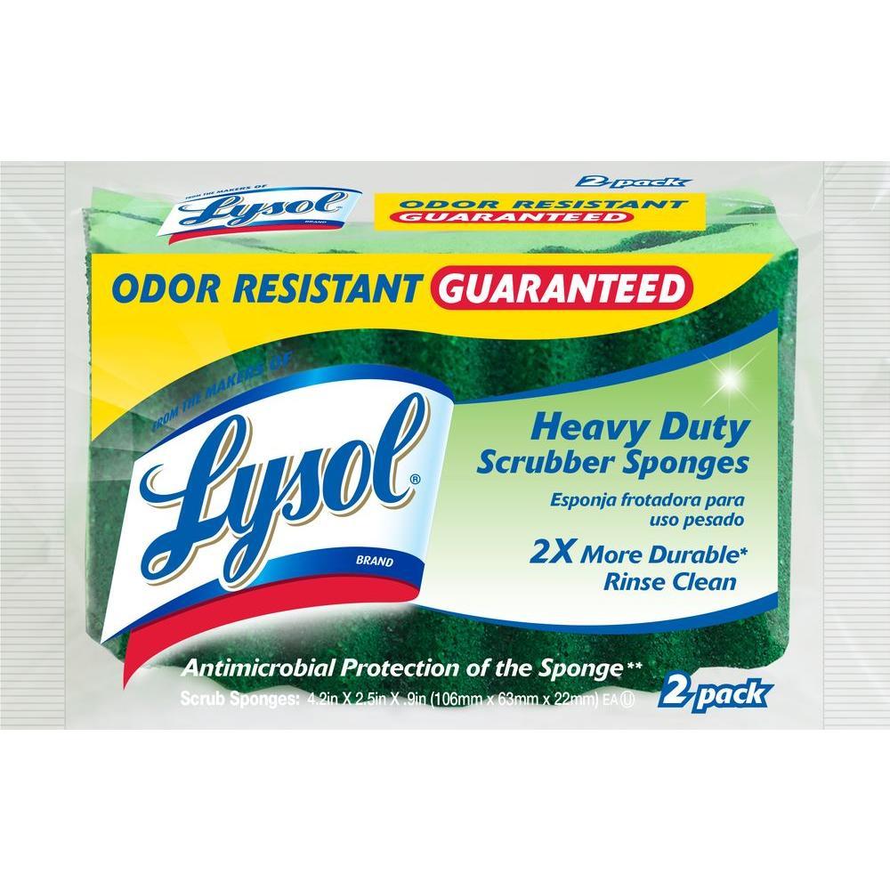 Odor Resistant Heavy Duty Scrubber Sponges (2-Pack)